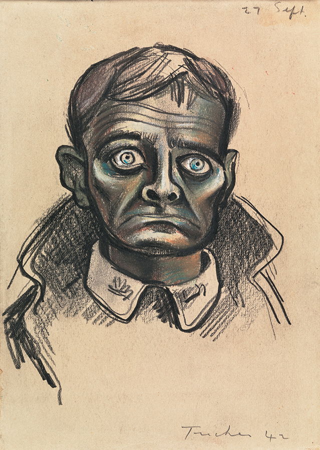 A pencil drawing with muted colours depicts an anxious looking man who is wide eyed.