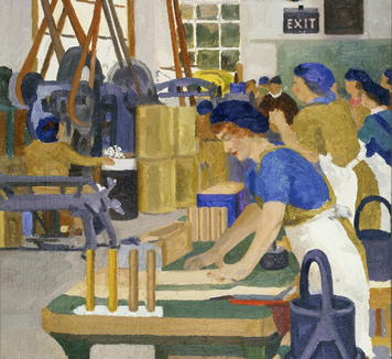 A colourful oil painting of multiple women at work on a factory floor. A row of women stand at a workbench that extends from the foreground to the background. A large piece of machinery made up of belts and wheels being operated by women is also visible.